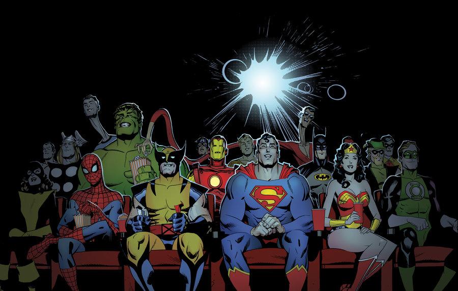 سوپرمن، بتمن، اسپایدرمن، واندروومن، آیرونمن، هالک و بقیه ابرقهرمانهای مارول و دی سی کمیکس مشغول تماشای فیلم هستند.